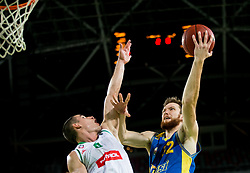 Jan Span of Petrol Olimpija vs Donovon Matthew Jack of Hopsi during basketball match between KK Petrol Olimpija and KK Hopsi Polzela in Round #2 of Liga NovaKBM 2018/19, on October 21, 2018, in Arena Stozice, Ljubljana, Slovenia. Photo by Vid Ponikvar / Sportida