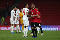 TIRANA, ALBANIA - MARCH 28: Jesse Lingard of England and Ledian Memushaj of Albania the FIFA World Cup 2022 Qatar qualifying match between Albania and England at the Qemal Stafa Stadium on March 28, 2021 in Tirana, Albania. Sporting stadiums around Europe remain under strict restrictions due to the Coronavirus Pandemic as Government social distancing laws prohibit fans inside venues resulting in games being played behind closed doors (Photo by MB Media)