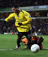 Photo: Paul Thomas.<br /> Blackburn Rovers v Arsenal. The FA Cup. 28/02/2007.<br /> <br /> Arsenal's Jeremie Aliadiere (Yellow) dives in the box it was judged ans wasn't brought down by keeper Brad Friedel.