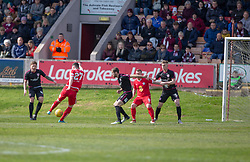 Brechin City's Michael Miller (27) scoring their goal. half time : Brechin City 1 v 1 Arbroath, Scottish Football League Division One played 13/4/2019 at Brechin City's home ground Glebe Park.