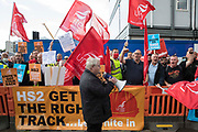 Steve Turner c, candidate to become General Secretary of Unite, joins Unite members protesting outside the Euston construction site for the HS2 high-speed rail link regarding trade union access to construction workers building tunnel sections for the project on 6th August 2021 in London, United Kingdom. Unite claims that HS2s joint venture contractor SCS, formed by Skanska, Costain and Strabag, has been hindering meaningful trade union access to HS2 construction workers in contravention of the HS2 agreement.
