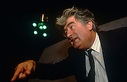 Serb politician Radovan Karadzic at the Yugoslav Peace Conference on 8th August 1992 in London UK. Peace peace-makers attempted to diffuse the Bosnian European conflict. As one of the world's most wanted men, Karadzic was eventually arrested after 12 years on the run to face charges of genocide and crimes against humanity inflicted on Bosnian Muslim, Bosnian Croat and other non-Serb civilians in Bosnia and Herzegovina during the 1992-95 war, when he was president of the breakaway Republika Srpska. Implicated in the murder of nearly 8,000 Bosnian Muslim men and boys in Srebrenica, after the supposedly UN-protected enclave fell to Bosnian Serb forces. The former psychiatrist and aspiring poet was also charged with running death camps for non-Serbs, and the shelling and sniping on civilians in the Bosnian capital, Sarajevo, in a siege that lasted more than three years. UPDATE MARCH 2016 Karadzic was convicted of genocide and war crimes over the 1992-95 war, and sentenced to 40 years in jail. UN judges in The Hague found him guilty of 10 of 11 charges, including genocide over the 1995 Srebrenica massacre.