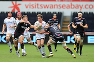 Craig Gilroy of Ulster runs into Rhys Webb (l) and James King of the Ospreys.  Guinness Pro12 rugby match, Ospreys v Ulster Rugby at the Liberty Stadium in Swansea, South Wales on Saturday 7th May 2016.<br /> pic by  Andrew Orchard, Andrew Orchard sports photography.
