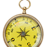 A brass pocket compass isolated on a pure white background.