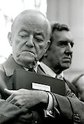 Hubert H Humphrey, former Vice President of the United Stated, with Edmund Muskie at an economic briefing for President Elect Jimmy Carter in Plains, Georgia just before he took office in January 7, 1977. - To license this image, click on the shopping cart below -
