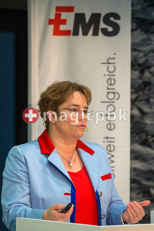 Magdalena Martullo-Blocher, chief executive officer (CEO) and vice-chairman of the board of directors of EMS-CHEMIE HOLDING AG, speaks during a press conference on the fourth quarter and full-year results 2014 in Zurich, Switzerland, Friday, February 6, 2015. The EMS Group, with its companies consolidated in the EMS-CHEMIE HOLDING AG is globally active in the business areas High Performance Polymers and Specialty Chemicals. In 2014, net sales increased by 4.6% and net operating income (EBIT) by 14.7% compared to the previous year. (Photo by Patrick B. Kraemer / MAGICPBK)