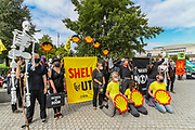 As a way to step up pressure on Shell and demand an end on fossil fuel extraction as well as ecocide, Extinction Rebellion protestors dressed in Black Clads walked through Jubilee Gardens and performed outside Shell Headquarters in Central London, on Tuesday, Sept 8, 2020. Environmental nonviolent activists group Extinction Rebellion enters its 8th day of continuous ten days protests to disrupt political institutions throughout peaceful actions swarming central London into a standoff, demanding that central government obeys and delivers Climate Emergency bill. (VXP Photo/ Vudi Xhymshiti)