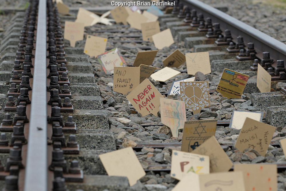 Letters in the railroad tracks in front of the main gate to Auschwitz-Birkenau Concentration Camp in Poland on Tuesday July 5th 2011.  (Photo by Brian Garfinkel)