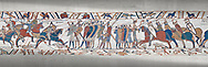 Bayeux Tapestry scene 51c:  The Norman cavalry charge the Saxon foot solders. .<br /> <br /> If you prefer you can also buy from our ALAMY PHOTO LIBRARY  Collection visit : https://www.alamy.com/portfolio/paul-williams-funkystock/bayeux-tapestry-medieval-art.html  if you know the scene number you want enter BXY followed bt the scene no into the SEARCH WITHIN GALLERY box  i.e BYX 22 for scene 22)<br /> <br />  Visit our MEDIEVAL ART PHOTO COLLECTIONS for more   photos  to download or buy as prints https://funkystock.photoshelter.com/gallery-collection/Medieval-Middle-Ages-Art-Artefacts-Antiquities-Pictures-Images-of/C0000YpKXiAHnG2k