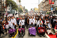 The Frisco 5 hunger strikers Ike Pinkston, left, Ilyich Sato, Sellassie Blackwell, Maria Cristina Gutierrez and Edwin Lindo are pushed by wheelchair by representatives of the Do Not Harm Coalition, comprised of doctors at UCSF, during a march to City Hall demanding the resignation of SFPD Chief Greg Suhr on the 13th day of their hunger strike in San Francisco, Calif., Tuesday, May 3, 2016.<br /> <br /> The Frisco 5 began their hunger strike following a series of fatal police-officer involved shootings in the San Francisco Bay Area. The strike lasted for a total of 17 days before the group was urged by medical professionals to not further risk their health.