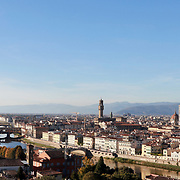 FLORENCE, ITALY - NOVEMBER 01: <br /> A panoramic view of Florence showing The Ponte Vecchio (Old Bridge) is a medieval bridge spanning the river Arno and Florence's Cathedral, Basilica di Santa Maria del Fiore, known as Duomo in Florence, Italy. The Duomo is the main church of the city of Florence. Construction was started in 1296 in the Gothic style with the structure completed in 1436. The famous dome was designed by Arnolfo di Cambio and engineered by Filippo Brunelleschi. Florence, Italy, 1st November 2017. Photo by Tim Clayton/Corbis via Getty Images)