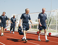 Photo: Chris Ratcliffe.<br />England Training Session. FIFA World Cup 2006. 13/06/2006.<br />Tord Grip and Sven Goran Eriksson arrive for training.