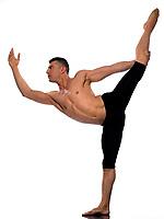 caucasian man gymnastic acrobatics balance isolated studio on white background