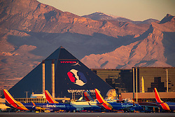 March 14, 2019 - Las Vegas, Nevada, U.S. - McCarran airplane terminals during the grounding of the Boeing 737 Max 8-9 planes after the 2 fatal crashes in 6 months. President Trump announced Wednesday he would immediately ground all Boeing 737 Max 8 and 9 aircraft, amid concerns over their involvement in two major plane crashes less than six months apart. Boeing issued a statement saying they would recommend the temporary global suspension of the entire 737 Max fleet. Fifty countries have now grounded or banned the planes inside their airspace. (Credit Image: © Larry Burton/ZUMA Wire/ZUMAPRESS.com)