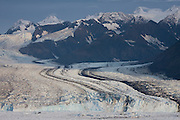 View of the surrounding peaks and the calving face of the western branch of the Columbia Glacier, near Valdez, Alaska.
