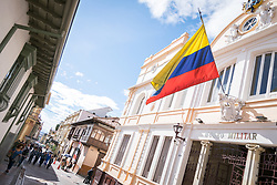 23 April 2018, Bogotá, Colombia. The Candelaria is the historic centre of Bogota, featuring old colonial architecture and narrow streets.