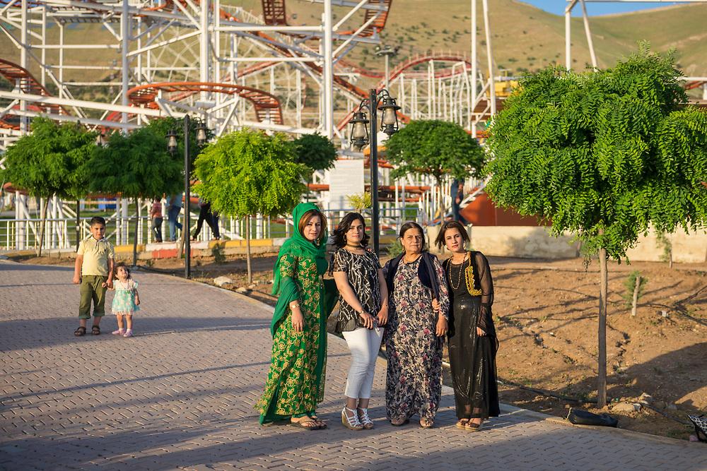 Kurdish women visit Chavi Land, an amusement park in Sulaymaniyah, Iraq. (May 13, 2017)