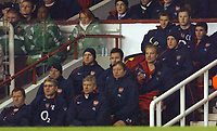 Fotball<br /> Premier League England 2004/2005<br /> Foto: BPI/Digitalsport<br /> NORWAY ONLY<br /> <br /> Arsenal v Chelsea<br /> FA Barclays Premiership, Highbury 12/12/04<br /> <br /> Arsenal's Jens Lehmann, top row, watches the game  from the bench