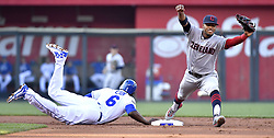 August 19, 2017 - Kansas City, MO, USA - The Kansas City Royals' Lorenzo Cain (6) dives back to second in time as the throw reaches Cleveland Indians shortstop Francisco Lindor after a line out by Eric Hosmer in the first inning at Kauffman Stadium in Kansas City, Mo., on Saturday, Aug. 19, 2017. (Credit Image: © John Sleezer/TNS via ZUMA Wire)