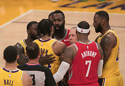 October 20, 2018 - Los Angeles, California, U.S - Brandon Ingram #14 of the Los Angeles Lakers talks to James Harden of the Houston Rockets #13 and ref. during their NBA game on Saturday October 20, 2018 at the Staples Center in Los Angeles, California. (Credit Image: © Prensa Internacional via ZUMA Wire)