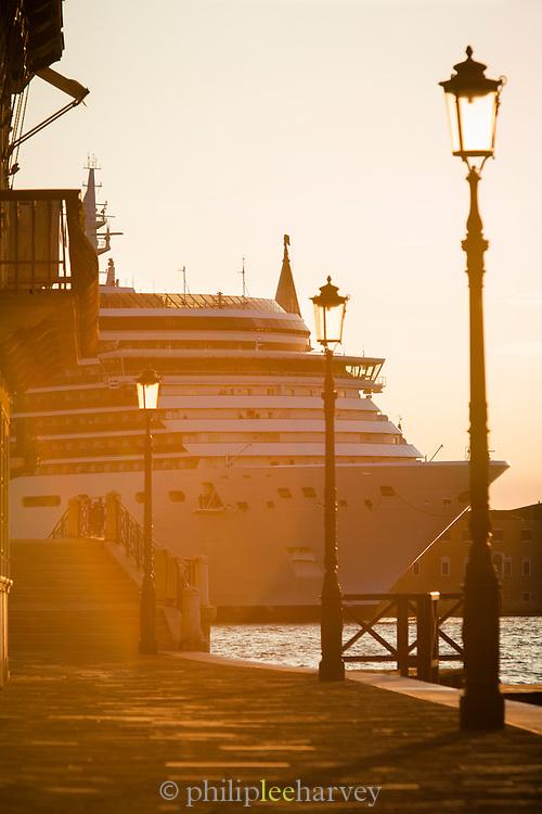 The Ship MV Arcadia travelling down the Canale della Giudecca, seen from Fondameta Zattere Allo Spirito Santo. Venice Italy, Europe