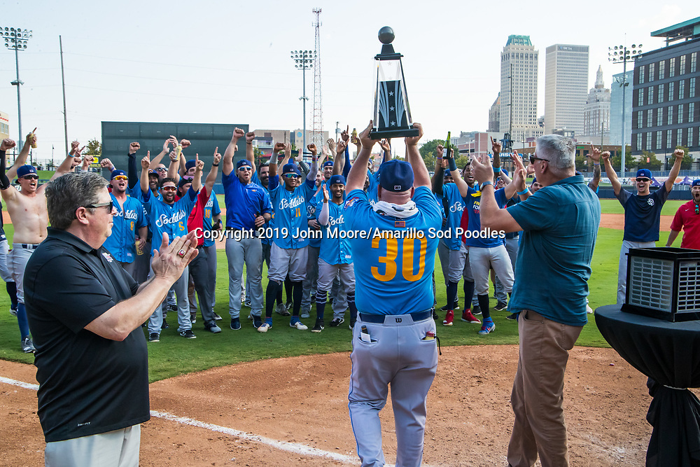The Amarillo Sod Poodles receive the trophy after defeating the Tulsa Drillers during the Texas League Championship on Sunday, Sept. 15, 2019, at OneOK Field in Tulsa, Oklahoma. [Photo by John Moore/Amarillo Sod Poodles]