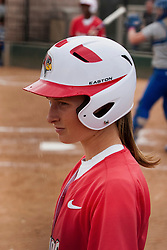 15 April 2012:  Lauren Kellar warms up in the on deck circle during an NCAA women's softball game between the Drake Bulldogs and the Illinois State Redbirds on Marian Kneer Field in Normal IL