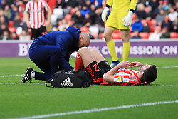 March 16, 2019 - Sunderland, Tyne and Wear, United Kingdom - Sunderland's Will Grigg receives treatment during the Sky Bet League 1 match between Sunderland and Walsall at the Stadium Of Light, Sunderland on Saturday 16th March 2019. (Credit: Steven Hadlow | MI News) (Credit Image: © Mi News/NurPhoto via ZUMA Press)