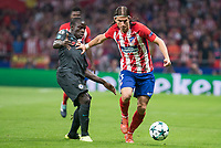 Atletico de Madrid's Filipe Luis and Chelsea's N'Golo Kante during UEFA Champions League match between Atletico de Madrid and Chelsea at Wanda Metropolitano in Madrid, Spain September 27, 2017. (ALTERPHOTOS/Borja B.Hojas)