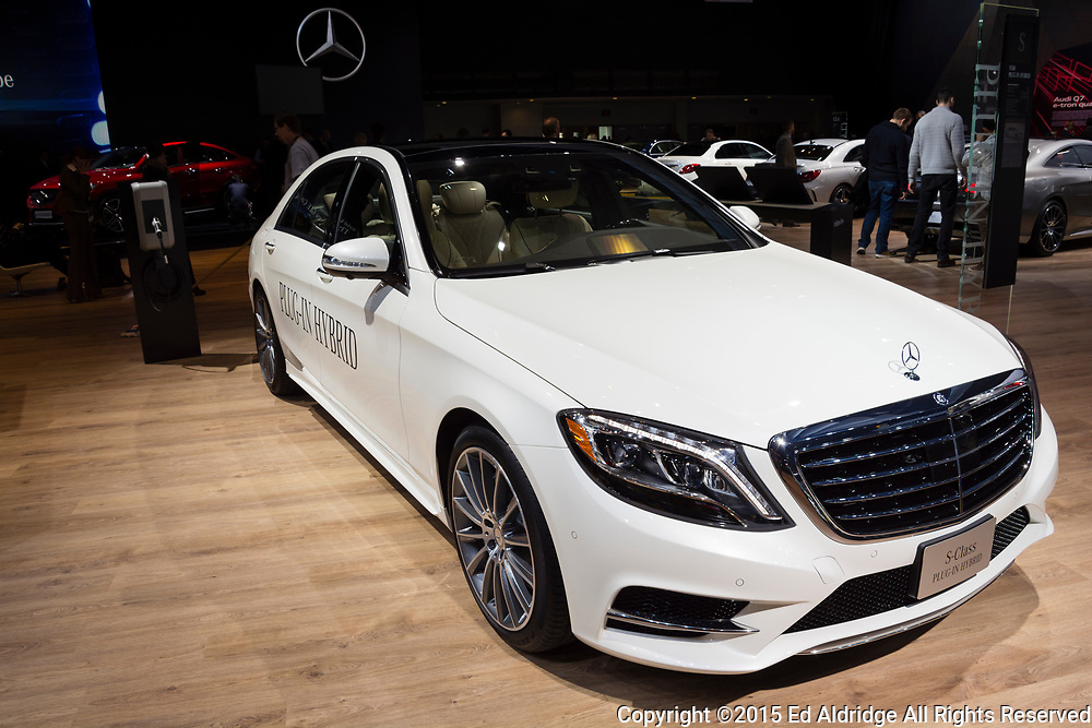 DETROIT, MI, USA - JANUARY 12, 2015: Mercedes S-Class plug-in hybrid on display during the 2015 Detroit International Auto Show at the COBO Center in downtown Detroit.