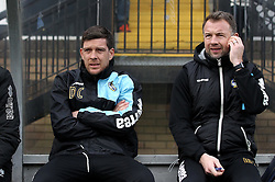 Bristol Rovers Manager Darrell Clarke and Assistant Marcus Stewart take their place on the bench - Mandatory byline: Robbie Stephenson/JMP - 27/02/2016 - FOOTBALL - Adams Park - Wycombe, England - Wycombe Wanderers v Bristol Rovers - Sky Bet League Two