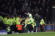 Jesus Navas of Manchester City celebrates after scoring his teams 1st goal to equalise at 1-1.. Capital one cup semi final 1st leg match, Everton v Manchester city at Goodison Park in Liverpool on Wednesday 6th January 2016.<br /> pic by Chris Stading, Andrew Orchard sports photography.