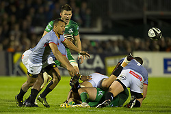 September 9, 2017 - Galway, Ireland - Godlen Masimla of S.Kings passes the ball during the Guinness PRO14 rugby match between Connacht Rugby and Southern Kings at the Sportsground in Galway, Ireland on September 9, 2017  (Credit Image: © Andrew Surma/NurPhoto via ZUMA Press)