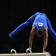 Paul Ruggeri III, Manlius, New York, in action on the Pommel horse during the Senior Men Competition at The 2013 P&G Gymnastics Championships, USA Gymnastics' National Championships at the XL, Centre, Hartford, Connecticut, USA. 16th August 2013. Photo Tim Clayton