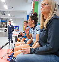 HAMBURG  (Ger) - Match 20,  for FINAL, LMHC Laren - Dinamo Elektrostal (Rus)  Photo: manager Piteke Scheringa (Laren) , Macey de Ruiter (Laren)  Eurohockey Indoor Club Cup 2019 Women . WORLDSPORTPICS COPYRIGHT  KOEN SUYK