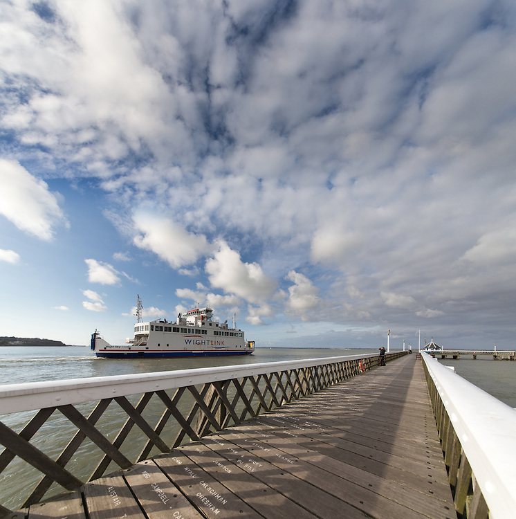 Saying goodbye to the Wightlink ferry as it departs from Yarmouth on the Isle of Wight