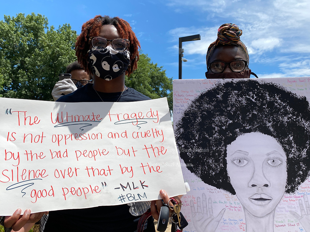 """Today at the Mississippi State Capitol. Truth spoken to power by demonstrators in support of Black Lives Matter and against the brutal  murder of George Floyd and police brutality and systematic racism. In the past 6 days protests and riots have broken out across America in response to the brutal killing of an unarmed African American man by the knee and hands of Minnesota Police <br /> Officers. Photo copyright © @suzialtman #Suzi Altman #protest#peace #blacklivesmatter #georgefloyd #policebrutality #racism #america #mississippi #peacefulprotest #teachlovenothatelprotest #teachlovenothate<br /> Today at the Mississippi State Capitol 29 yr old history teacher from Cardozo Middle School ,Dhahran Hall, spoke truth to power and lead  demonstrators in support of Black Lives Matter and the murder of George Floyd and police brutality and systematic racism. Protestors gathered at the State Capitol and marched around downtown Jackson returning to the Capitol they chanted """" Say There Names"""", """" I can't Breathe"""", """" No Justice No Peace"""" """" Justice for George Floyd"""" it was a very peaceful protest and march.  In the past 6 days protests and riots have broken out across America in response to the brutal killing of an unarmed African American man by the knee and hands of Minnesota Police<br /> Officers. Photo copyright © @suzialtman #Suzi Altman #protest#peace #blacklivesmatter #georgefloyd #policebrutality #racism #america #mississippi #peacefulprotest #teachlovenothate, white supremacy, cover-19, corona virus, pandemic"""