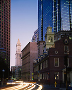 Evening time exposure of the Old State House, Boston National Historical Park, Boston, Massachusetts.