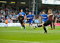 Manchester City's Ched Evans scores from the spot after earning a penalty.<br />
