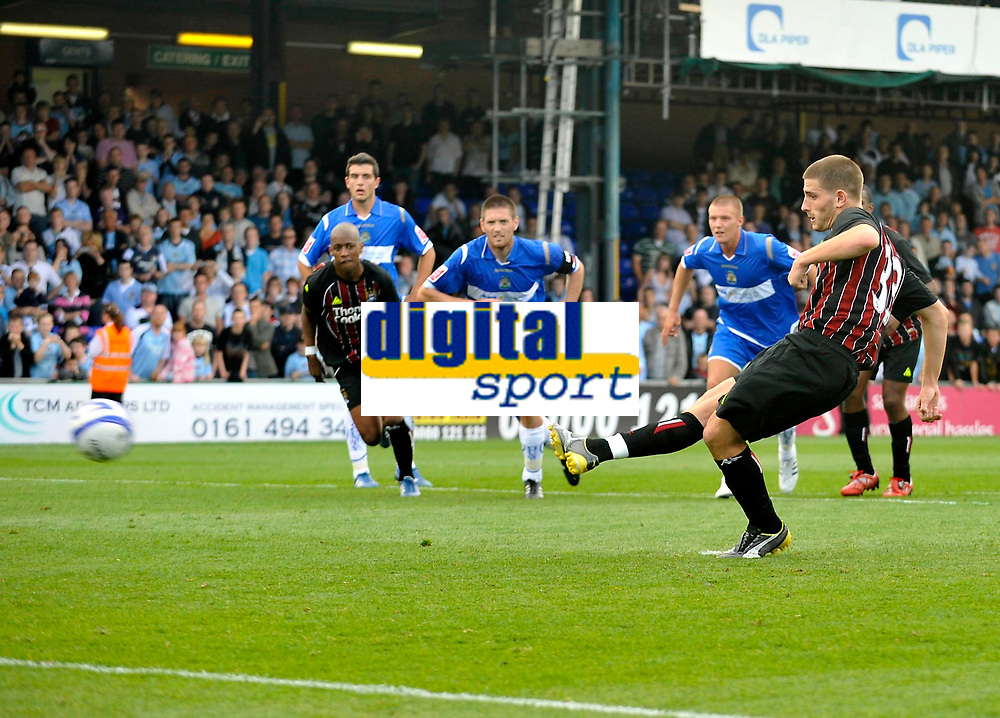 Manchester City's Ched Evans scores from the spot after earning a penalty.<br />Photo: Paul Greenwood/Richard Lane Photography. Stockport County v Manchester City. Pre Season Friendy. 02/08/2008.