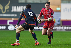 Kieron Fonotia of Scarlets in action during todays match<br /> <br /> Photographer Craig Thomas/Replay Images<br /> <br /> Guinness PRO14 Round 11 - Scarlets v Edinburgh - Saturday 15th February 2020 - Parc y Scarlets - Llanelli<br /> <br /> World Copyright © Replay Images . All rights reserved. info@replayimages.co.uk - http://replayimages.co.uk