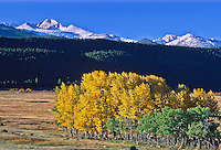 Moraine Park during the autumn season below 14,255 ft. Longs Peak.  Rocky Mountain National Park, Colorado.