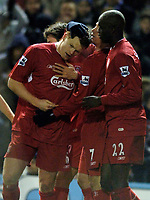 Photo: Glyn Thomas.<br />Birmingham City v Liverpool. The FA Cup. 21/03/2006.<br /> Liverpool's John Arne Riise (L) is mobbed by teammates after scoring his side's brilliant fifth goal.