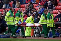 Photo. Glyn Thomas.<br /> Sunderland v West Ham United.<br /> Nationwide Division 1.<br /> Stadium of Light, Sunderland. 13/03/2004.<br /> West Ham's Matthew Etherington is stretchered off.