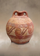 Minoan decorated clay flask  from the  Knossos-Temple Repositories 1650-1550 BC, Heraklion Archaeological  Museum. .<br /> <br /> If you prefer to buy from our ALAMY PHOTO LIBRARY  Collection visit : https://www.alamy.com/portfolio/paul-williams-funkystock/minoan-art-artefacts.html . Type -   Heraklion   - into the LOWER SEARCH WITHIN GALLERY box. Refine search by adding background colour, place, museum etc<br /> <br /> Visit our MINOAN ART PHOTO COLLECTIONS for more photos to download  as wall art prints https://funkystock.photoshelter.com/gallery-collection/Ancient-Minoans-Art-Artefacts-Antiquities-Historic-Places-Pictures-Images-of/C0000ricT2SU_M9w