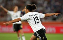 05.07.2011, Borussia-Park, Moenchengladbach, GER, FIFA Women Worldcup 2011, Gruppe A,  Frankreich (FRA) Deutschland (GER) ,. im Bild  Torjubel Celia Okoyino Da Mbabi (GER) nach dem 4:2 . // during the FIFA Women´s Worldcup 2011, Pool A,France vs Germany on 2011/06/26, Borussia-Park, Moenchengladbach, Germany. EXPA Pictures © 2011, PhotoCredit: EXPA/ nph/  Karina Hessland       ****** out of GER / CRO  / BEL ******