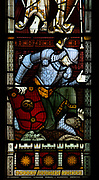 Church of Saint Peter, Baylham, Suffolk, England, UK - east window stained glass c 1871 by Clayton and Bell, detail of Roman soldier