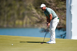 March 21, 2018 - Austin, TX, U.S. - AUSTIN, TX - MARCH 21: Jason Day lines up a putt during the First Round of the WGC-Dell Technologies Match Play on March 21, 2018 at Austin Country Club in Austin, TX. (Photo by Daniel Dunn/Icon Sportswire) (Credit Image: © Daniel Dunn/Icon SMI via ZUMA Press)