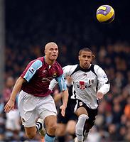 Photo: Alan Crowhurst.<br />Fulham v West Ham United. The Barclays Premiership. 23/12/2006. West Ham's Paul Konchesky (L) with Wayne Routledge.