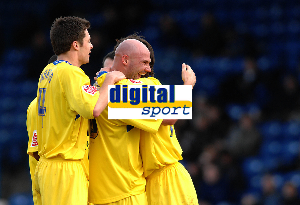 Photo: Paul Greenwood.<br />Bury FC v Wycombe Wanderers. Coca Cola League 2. 17/02/2007. Wycombe's Tommy Mooney, centre, congratulates scorer Tommy Doherty, right.